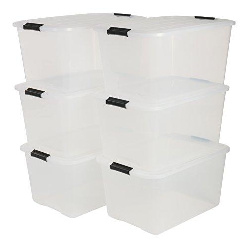 IRIS, 6er-Set stapelbare Aufbewahrungsboxen 'Top Box', mit Deckel und Klickverschluss, 45 Liter, Kunststoff / Plastik, transparent