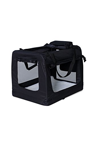 dibea Hundetransportbox Hundetasche Faltbare Transportbox Autobox Kleintiertasche (schwarz, 60x42x44 cm)