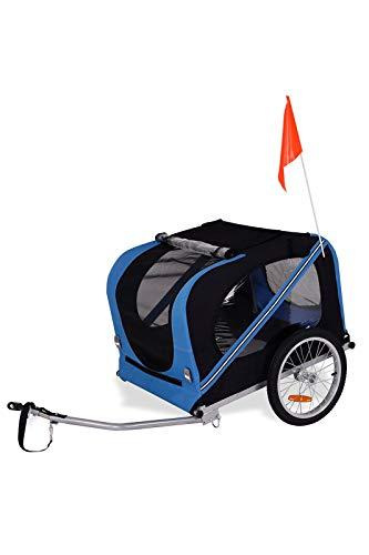 dibea PT10756, Hunde Fahrrad-Anhänger mit Kupplung und Sicherheitsgurten, blau/schwarz