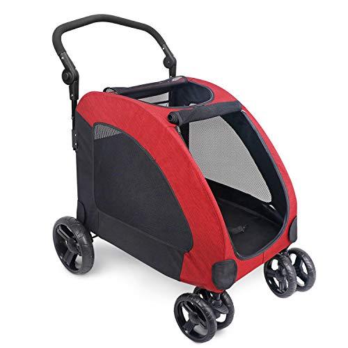 IREENUO Hundebuggy Hundewagen, Faltbare Haustier Buggy Hundekinderwagen für mittelgroße und große Hunde 4 Räder (Rot)