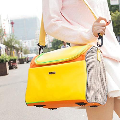 XXDYF Transporttasche Hundetragetasche Transportbox für Kleintiere Handtasche/Umhängetasche Atmungsaktiv Klappbar für Welpen Hunde Katze,Gelb,34 * 20 * 26cm