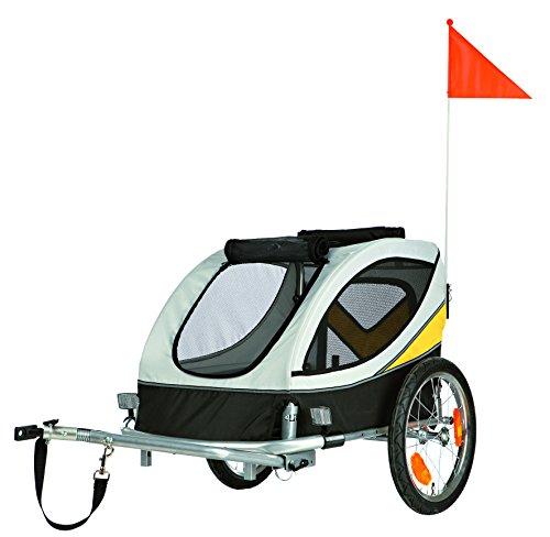 Trixie 12805 Fahrrad-Anhänger, M: 63 × 68 × 75/128 cm, grau/schwarz/gelb