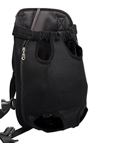 YOUJIA Masche Haustier Rucksäcke Hundetragetasche, Hund Katze Transporttasche Carrier Tasche Vorne Brust Rucksack (XL, Schwarz)