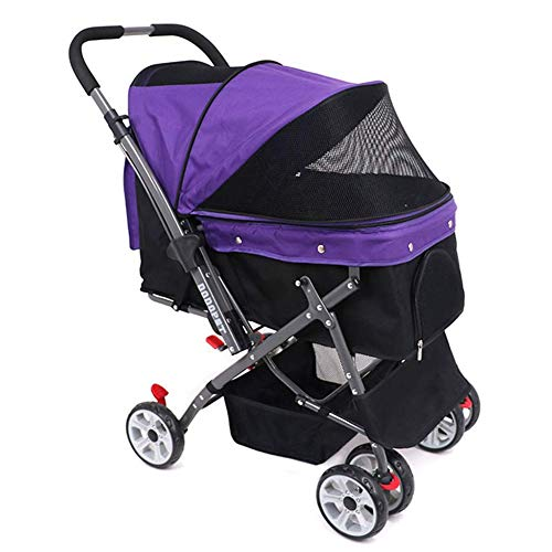 WLDOCA Hundebuggy Für Hunde Bis Klappbar Pet Stroller Hochwertig Stabil Aus Wasserdichtem Material Flexible Haustier Buggy Bis 25 Kg Safety Rope Pet Roadster,Purple