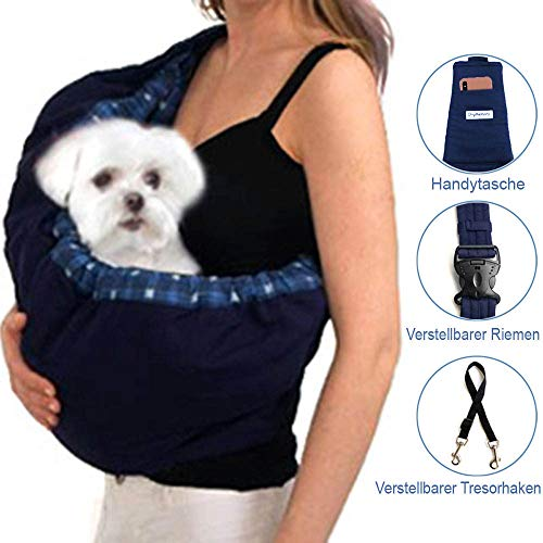 OrgMemory Haustier Tragetasche, Verstellbare Sling Bag, Kleine Hund Katze Outdoor Schulter Tragetasche (Blau Plaid)