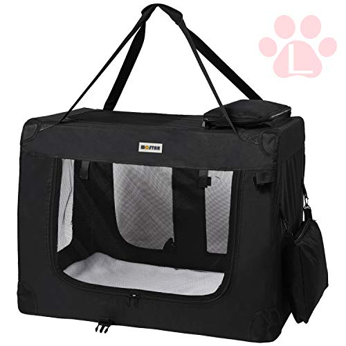 MC Star leichte Transportbox für Haustiere mit Fleece-Matte tragbar faltbar, Hundekäfig,L,Schwarz