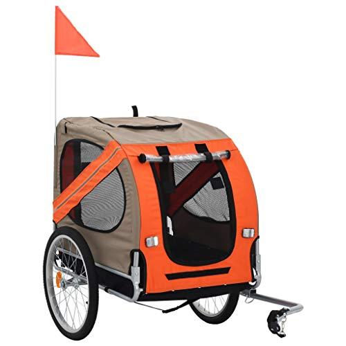 vidaXL Hundefahrradanhänger Fahrradanhänger Hundeanhänger Hundetransporter Haustieranhänger Hunde Fahrrad Anhänger Orange Braun Regenschutz