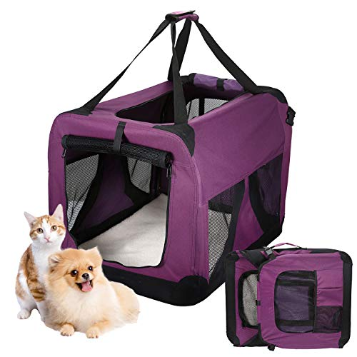 Pettom Transportbox Faltbar Oxford Material Wasserdichtes Hundetransportbox Atmungsaktivem Mesh Non-toxic Transportbox Hunde Katzen Lila