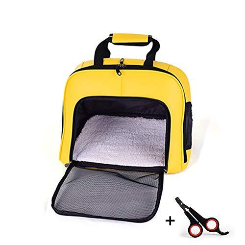 ZPEM Haustiere Transporttasche PU-Material, Atmungsaktiv Large Mesh Waschbar und Faltbar Tragbar Geeignet für Alle Katzen und kleine Hunde 32 * 43 * 35 cm