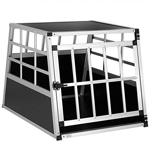 Cadoca Hundetransportbox M robust verschließbar aus Aluminium Autotransportbox Tiertransportbox 70x54x51cm