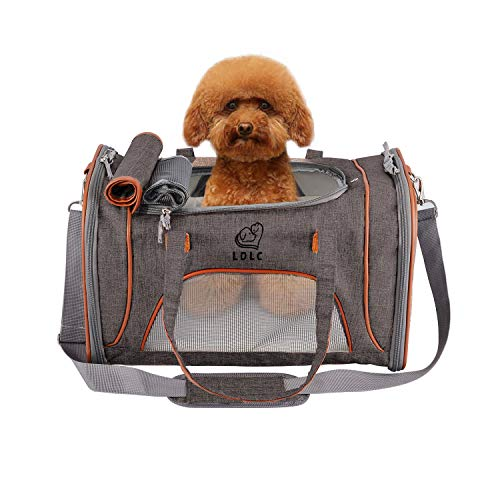 Louvra Hund Tragetasche Katze Transsporttasche Soft Haustier Träger mit Fleece-Pad Metall Sicherheitsverschluss aus Flachs Nylon für Katzen Klein Welpen (grau, S2)