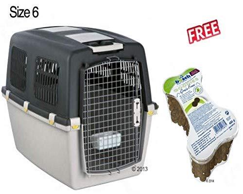 Gulliver Trixie Transportbox Größe 6: 92 x 64 x 64 cm, ideal für Reisen mit Flugzeugzug oder Auto, mit Schnappverschluss, inkl. Happy Dog NaturCroq Snack Lamm & Reis