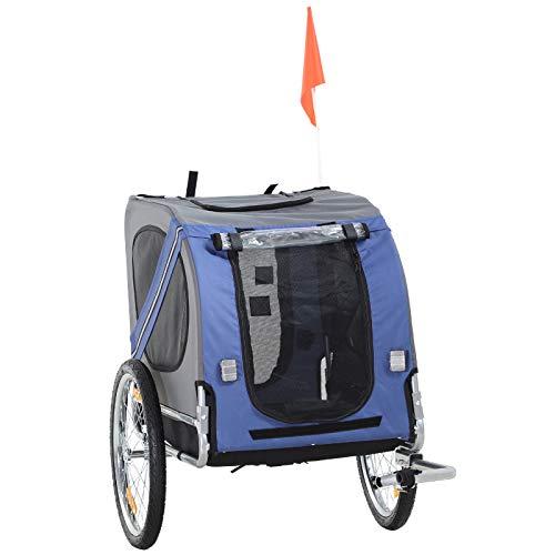 Pawhut Haustier Fahrradanhänger Hundeanhänger Jogger Wetterschutz Blau Oxfordstoff Atmungsaktiv 130 x 73 x 90 cm