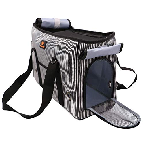 XXDYF Transporttasche Katze und Kleine Hunde, Katzentransportbox Katzen Transporttasche Atmungsaktiv Klappbar mit Fleece-Pad für Welpen Hunde Katze Kleine Tiere,Grau,L