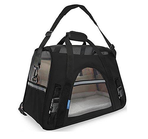 Ange Katzentransportbox, Faltbare Transportbox Katzen und Hunde, Klappbare Hundetransportbox, Black, Large