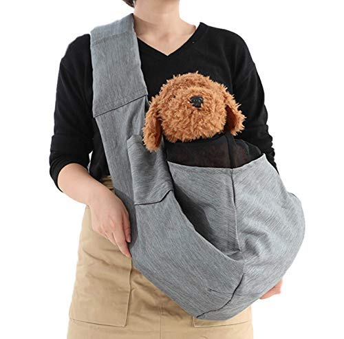 Maxmer Hunde Tragetasche Tragebeutel Transporttasche für kleine Hunde und Katzen Single-Schulter Hundetragebeutel aus Oxford Nylon (Grau-1)