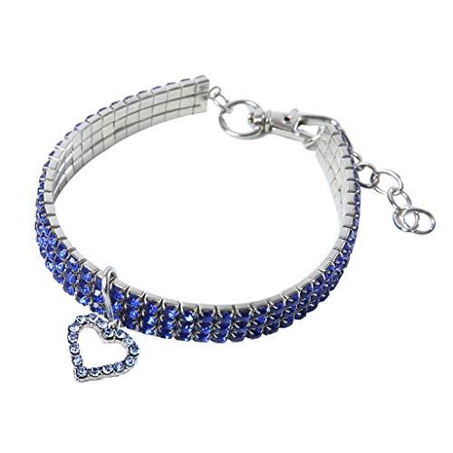 CAOQAO Benutzerdefinierte niedliche Rundhalsausschnitt Bling Strass Halsketten Phantasie Halskette Herz für Welpen Kleine Hunde und Katzen - 3 Farben
