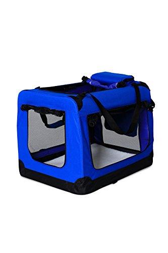 dibea TB10030 Hundetransportbox Hundetasche Faltbare Autobox Kleintiertasche (Größe und Farbe wählbar), blau