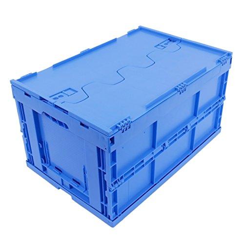 KLAPPBOX MIT DECKEL 61 Liter, stabile Klappbox Made in Germany, 60x40x33cm, Kunststoff Faltbox, Plastikbox, Transportbox, max. 60kg, Blau