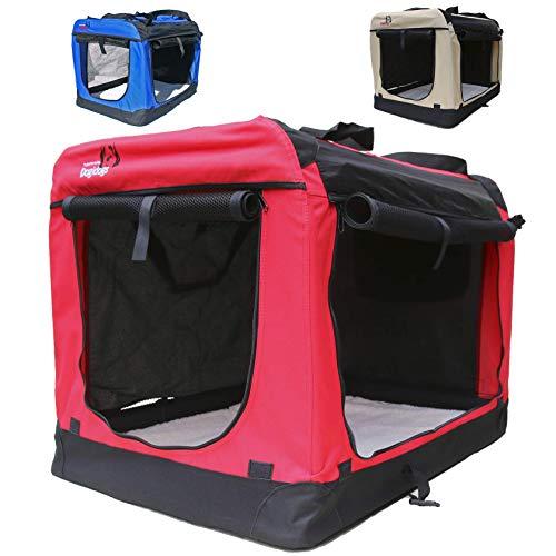 Hundetransportbox faltbar Transportbox für Hunde Hundebox Auto - Dogi Kennel - 6 Größen - 3 Farben (XXXL (102 x 69 x 69 cm), Rot)