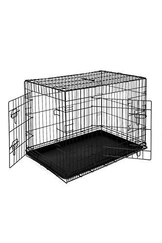 dibea DC00493, Transportkäfig für Hunde und Kleintiere, stabile Box aus kräftigem Draht, faltbar / klappbar, 2 Türen, mit Bodenschale, Größe XL