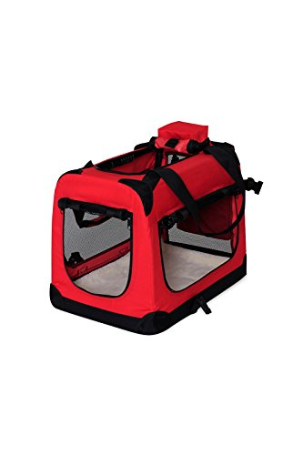 dibea TB10050 Hundetransportbox Hundetasche Faltbare Autobox Kleintiertasche (Größe und Farbe wählbar), rot