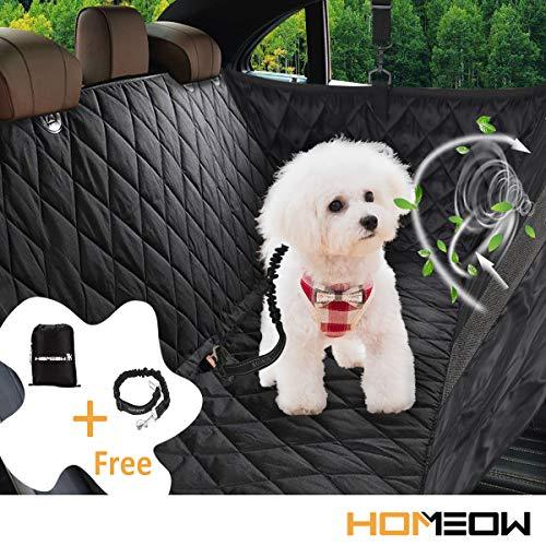 HOMEOW Autoschondecke Hund Rücksitz Rückbank Hundedecke Auto Rückbank Kofferraum Hängematte Hunde Seitenschutz Wasserdicht Autodecke mit Sichtbarem Fenster + Hunde Sicherheitsgurt