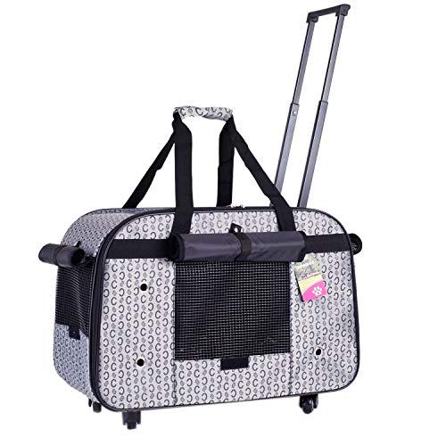 BEST IN DE Groß Trolley Hundetrolley für Hund bis 11kg oder 2 kleine Hunde Hundebox Katzenbox Transportbox Hundewagen