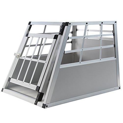 Jalano Hundetransportbox S Auto Gitterbox kleine Hunde Alu Hundebox Kofferraum, Farbe:grau