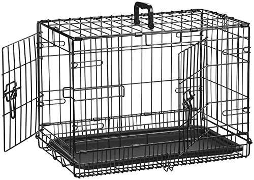 AmazonBasics - Hundekäfig mit 2 Türen, Metall, zusammenklappbar, 56cm