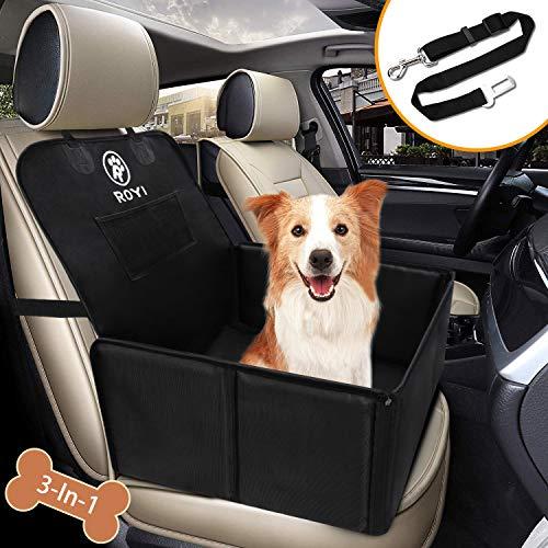 Wimypet Hunde Autositz für Kleine Mittlere Hunde, Robust Rückbank & Vordersitz Hundesitz mit Sicherheitsgurt, Wasserdicht Faltbar Autositzbezug