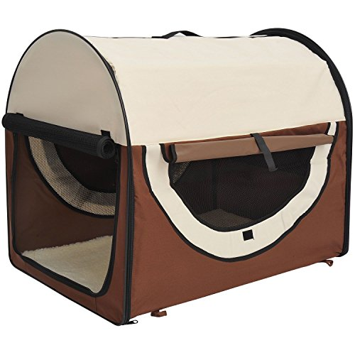 Pawhut D1-0151 Faltbare Transportbox für Haustier, L, kaffeebraun/Creme