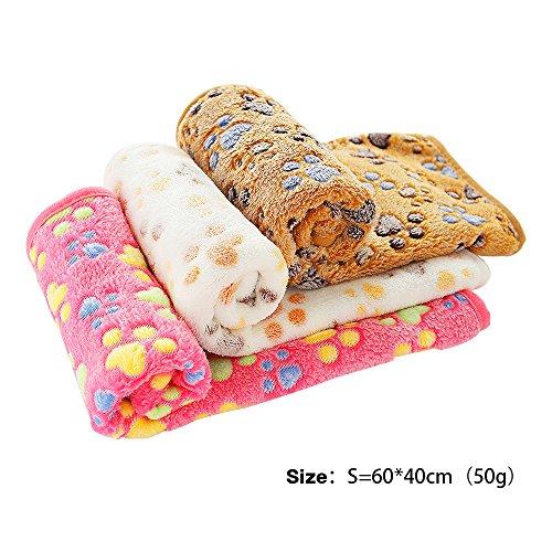 PET SPPTIES Super Soft Fleece Warm Pet Hund Katze Bett Decken, Decke für Welpen Paw Prints Pet Kissen Kleine Hund Katze Bett weiche warme Schlafen Matte,3 x Stück PS016(Pink+Beige+Coffee,60cmx40cm)