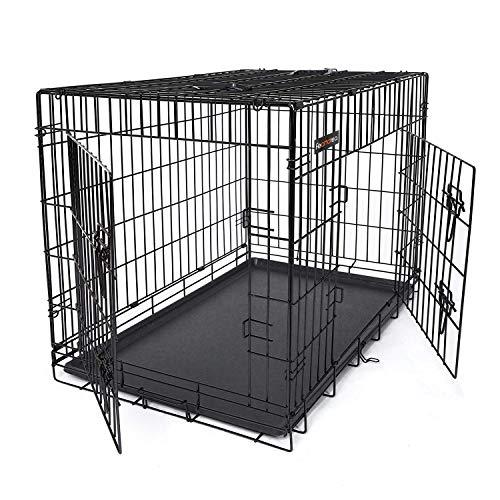 FEANDREA HundeKäfig 2 Türen Hundebox Transportbox faltbar DrahtKäfig Katzen Hasen Nager Kaninchen Geflügel Käfig schwarz XL 91 x 64 x 58 cm PPD36H