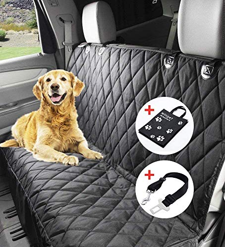 Wimypet Wasserfest Autoschondecke, DO01-FBA 150 x 144cm Hundedecke Rückbank, Anti-Rutsch Schondecke Hund Auto mit Einem Kostenlosen Sicherheitsgurt