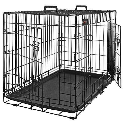 FEANDREA Hundekäfig, Hundebox, zusammenklappbar, 2 Türen, 122 x 74,5 x 80,5 cm, schwarz PPD48BK