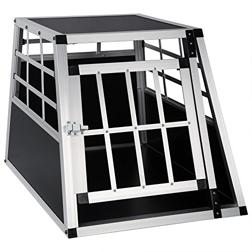 EUGAD Hundebox Transportbox Hundetransportbox Aluminium 1 Türig Reisebox Gitterbox Box 0050HT