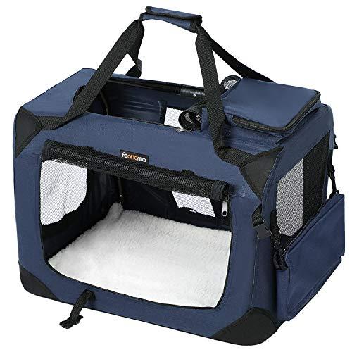 FEANDREA Hundebox, Transportbox, faltbar, 60 x 40 x 40 cm, dunkelblau PDC60Z