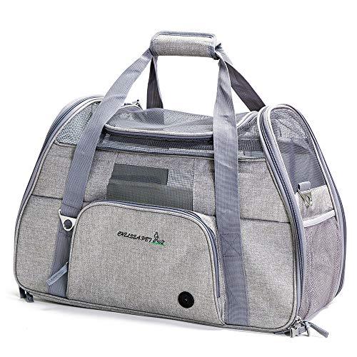 ubest Groß Transporttasche Hundebox Katzenbox Tragetasche für kleine Hunde bis 8kg Hundetasche Faltbar, 51 x 22 x 34cm, Hellgrau