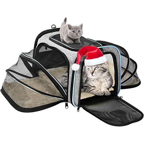 OMORC Erweiterbare Transporttasche Katze, die meisten Airlines genehmigte Tragetasche Katze, faltbare Transportbox Katze, weiche Hundetasche für kleine Tiere mit Schultergurt in Flugzeug/Auto