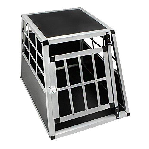 LARS360 Alu Hundetransportbox Hundebox Reisebox Transportbox Gitterbox mit MDF Platten für PKW Transport Kleiner Haustier - M Größe Mit 1Türig Schwarz (B50*H54*T69 cm)