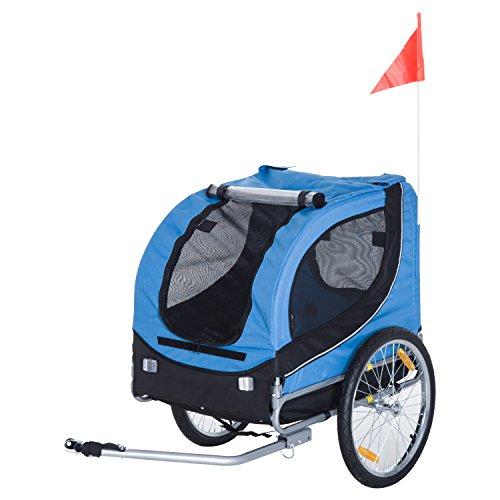 Pawhut Hundeanhänger Fahrradanhänger Hunde Fahrrad Anhänger Blau+Schwarz