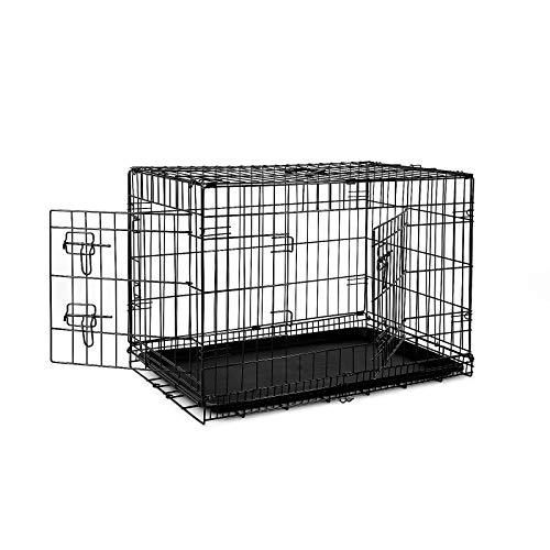 dibea DC00492, Transportkäfig für Hunde und Kleintiere, stabile Box aus kräftigem Draht, faltbar / klappbar, 2 Türen, mit Bodenschale, Größe L
