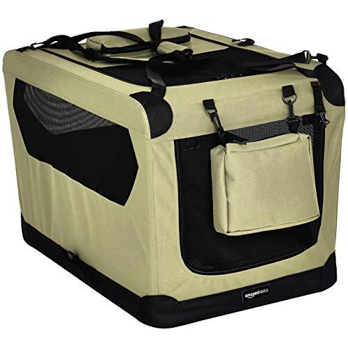 AmazonBasics - Hochwertige Haustier-Transportbox, faltbar, weich - 76 cm, KHAKI