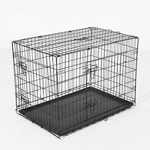 Pawhut 5663-1299L Transport/Drahtkäfig Hunde/Reisebox, L, schwarz