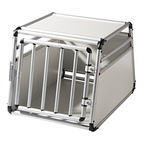 EUGAD Alu Hundetransportbox Hundebox Hundekäfig Autobox Reisebox Box 1 Türig 69 * 54 * 50 cm 0059HT