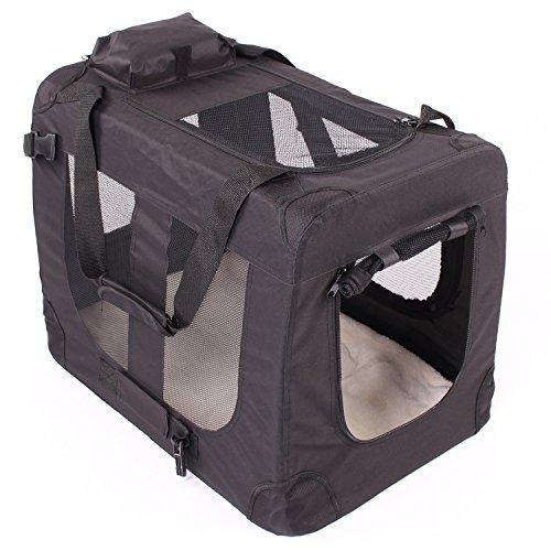 TRESKO Transportbox faltbar inklusive Polster Hundebox Autobox Katzen in verschiedenen Farben & Größen (M, Schwarz)