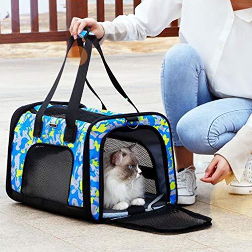 XXDYF Transporttasche für Haustiere, weiche Seitenteile Transporttasche für Katzen Hunde Comfort Atmungsaktiv Klappbar mit Fleece-Pad für Welpen Hunde Katze Kleine Tiere mit Kessel,Multicolored