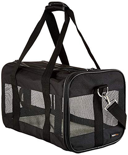 AmazonBasics Transporttasche für Haustiere, weiche Seitenteile, Schwarz, Größe M