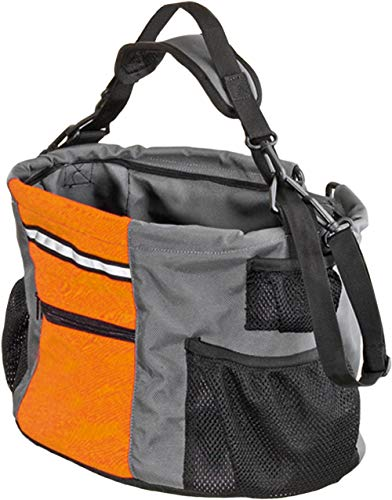 Karlie Hundetransportkorb aus Nylon mit Klick fix Adapter, 38 x 28 x 27 cm, orange/grau